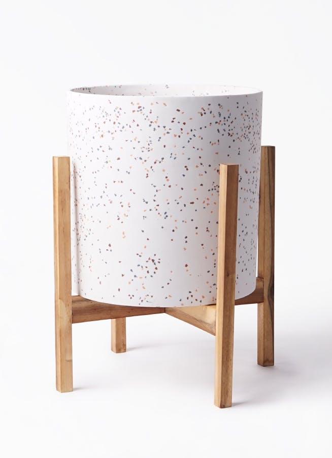 鉢カバー ホルスト シリンダー 8号鉢用 スパークルホワイト ウッドポットスタンド付き #KONTON HO-R01P10V
