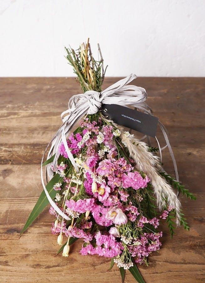 【母の日ギフト】 【季節の花】 スターチス スワッグ(ピンク系) Sサイズ