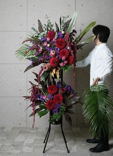 【全国配送】 紫系 フローリストにお任せ 季節のお祝いスタンド花 40,000円 2段スタンダードタイプ