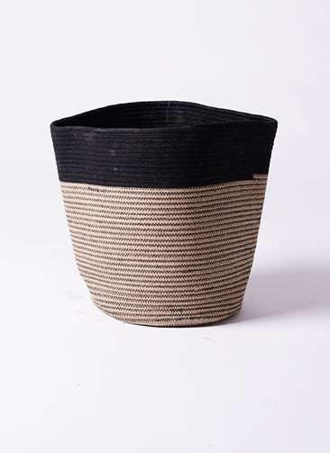 鉢カバー Rib Basket(リブバスケット) 10号鉢用 Natural and Black #stem B5238
