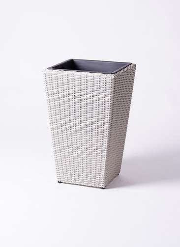 鉢カバー  ウィッカーポット スクエアロング OT 8号鉢用 白 #KONTON WP-001W57E