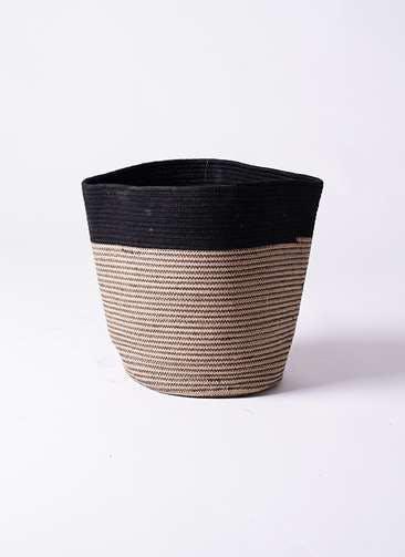 鉢カバー Rib Basket(リブバスケット) 8号鉢用 Natural and Black #stem B5237