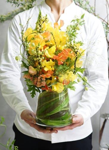 スイートピー アレンジメント オレンジ M