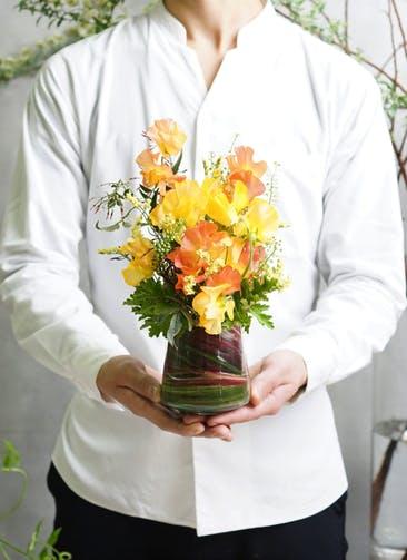 スイートピー アレンジメント オレンジ SS