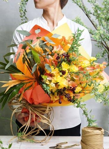 スイートピー 花束 オレンジ S