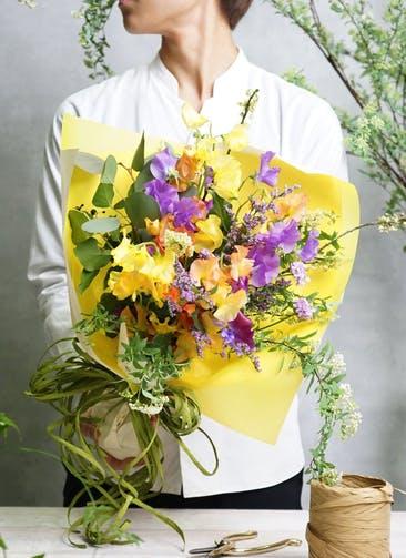 スイートピー 花束 パープル S