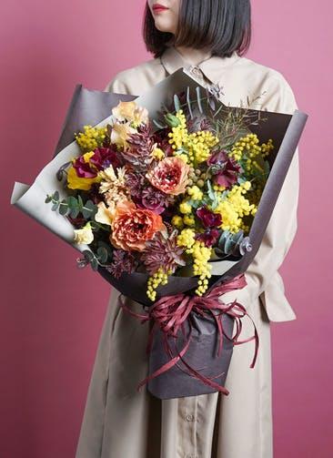 ミモザ 花束 ボルドー M ナチュラルブーケ