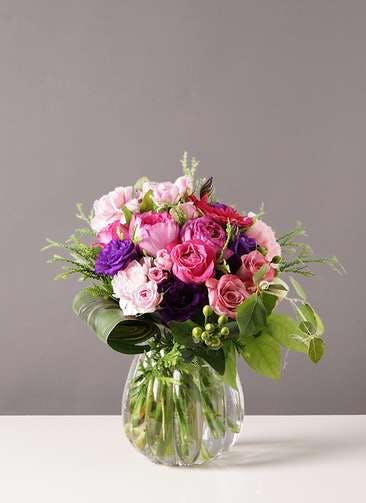 バラ グラスブーケ 紫 L パンプキンボール Lサイズ付き