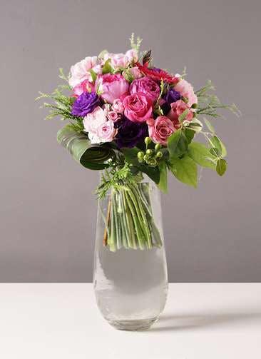 バラ グラスブーケ 紫 L リバーベース Lサイズ付き