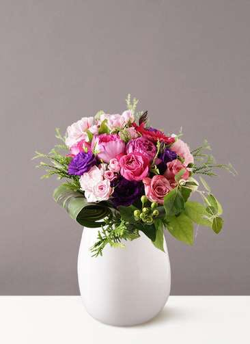 バラ グラスブーケ 紫 L エクリュポット Lサイズ付き
