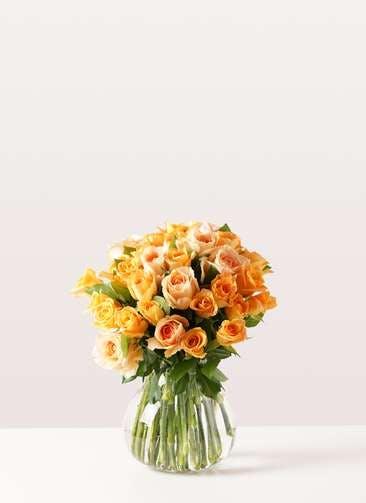バラ グラスブーケ オレンジ M (30本入) フローレット Mサイズ付き