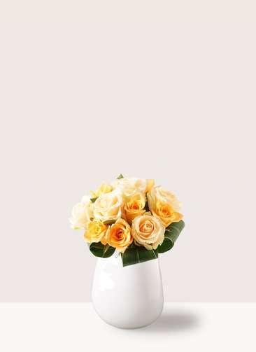 バラ グラスブーケ オレンジ S (12本入) エクリュポット Mサイズ付き