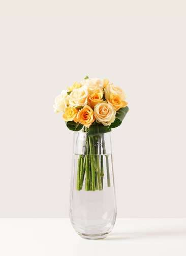 バラ グラスブーケ オレンジ S (12本入) リバーベース Mサイズ付き
