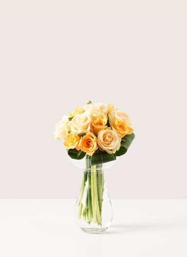 バラ グラスブーケ オレンジ S (12本入) きのこベース Mサイズ付き