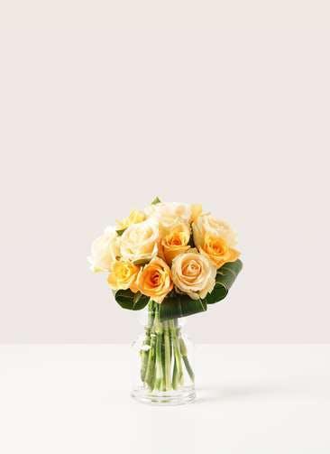 バラ グラスブーケ オレンジ S (12本入) バルブベース Sサイズ付き