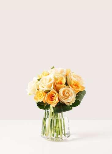 バラ グラスブーケ オレンジ S (12本入) 台形ポット Mサイズ付き