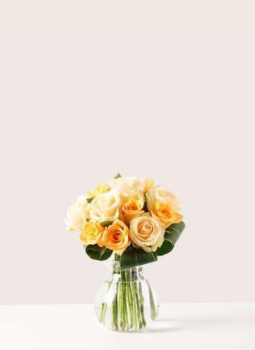 バラ グラスブーケ オレンジ S (12本入) フローレット Sサイズ付き