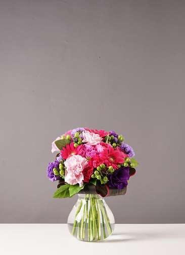 バラ グラスブーケ 紫 S フローレット Sサイズ付き
