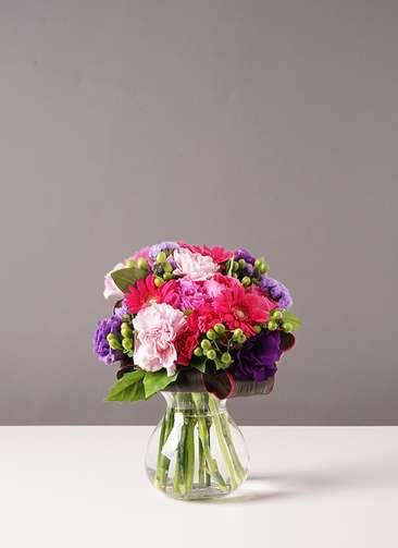 バラ グラスブーケ 紫 S フラワボワーズ Mサイズ付き