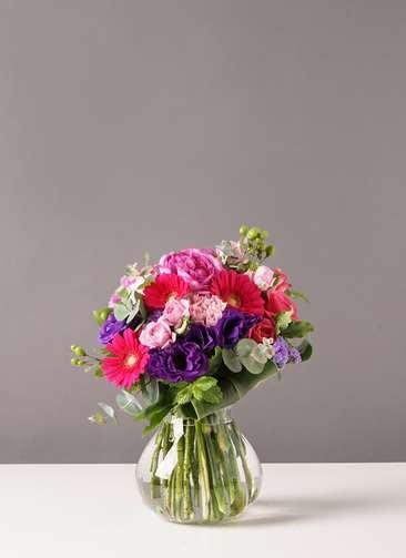 バラ グラスブーケ 紫 M フローレット Mサイズ付き