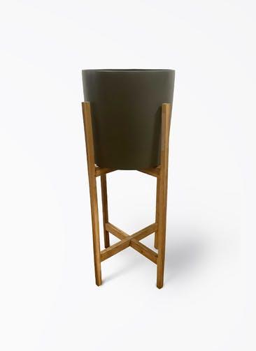 鉢カバー ホルスト シリンダー 6号鉢用 オリーブ ウッドポットスタンド付き #KONTON HO-R01G09V