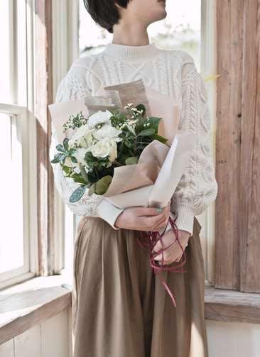 バラ 花束 白 S ナチュラルブーケ