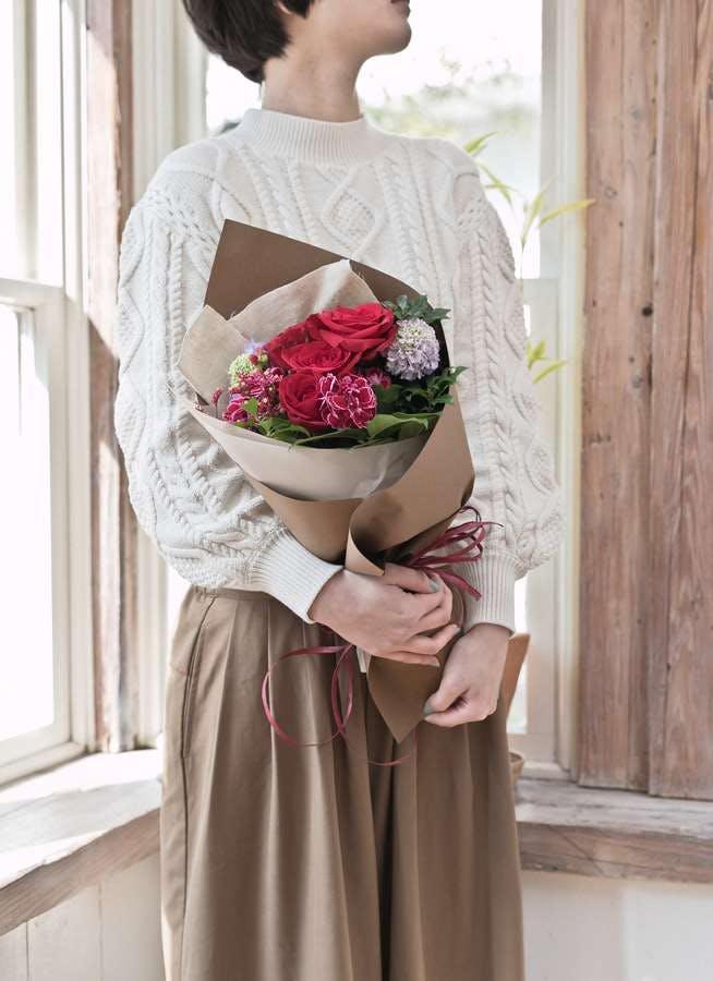 バラ 花束 赤 S ナチュラルブーケ