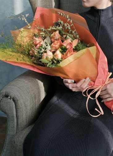 バラ 花束 オレンジ L スタンダード