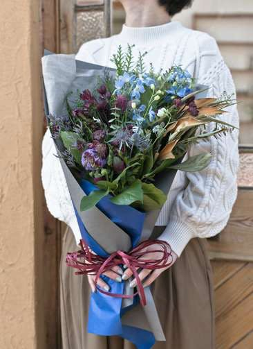 草花系 花束 ブルー&パープル M スタンダード