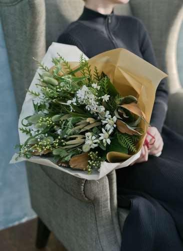 草花系 花束 ホワイト L ナチュラルブーケ