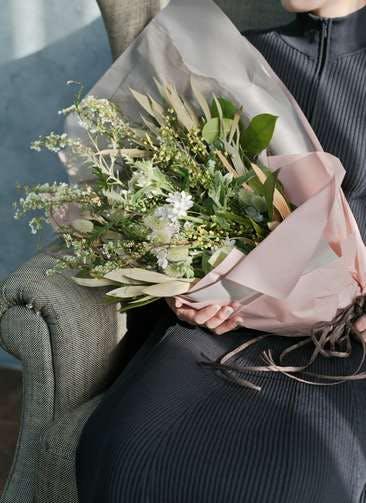 草花系 花束 ホワイト L スタンダード