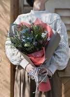 草花系 花束 ブルー&パープル M ナチュラルブーケ