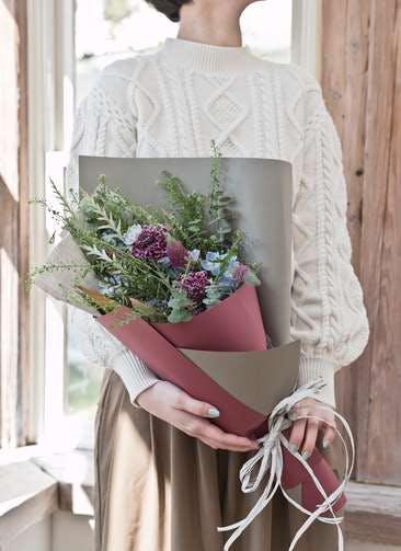 草花系 花束 ブルー&パープル S スタンダード