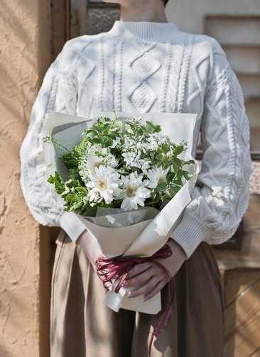 ガーベラ 花束 ホワイト S ナチュラルブーケ