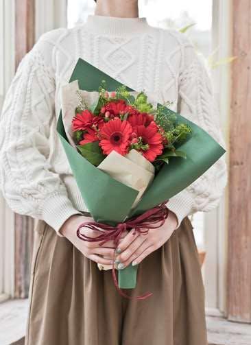 ガーベラ 花束 レッド S ナチュラルブーケ