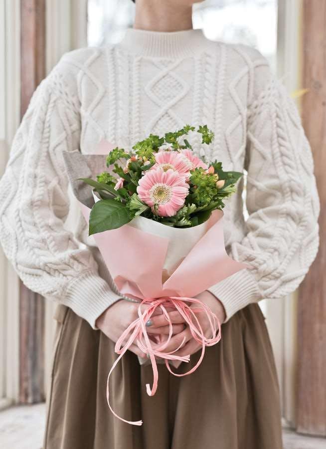 ガーベラ 花束 ピンク SS ナチュラルブーケ