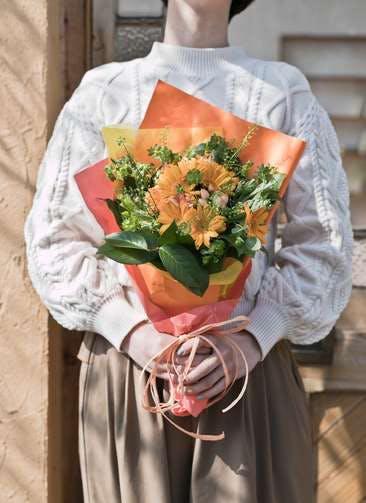 ガーベラ 花束 オレンジ S ナチュラルブーケ