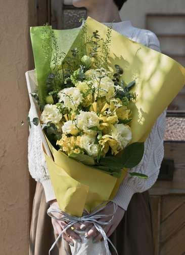 トルコキキョウ 花束 イエロー M スタンダード