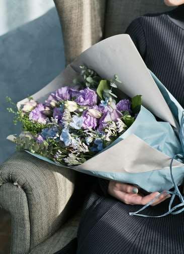 トルコキキョウ 花束 紫 L スタンダード