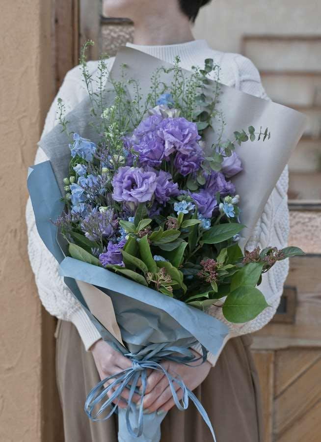 トルコキキョウ 花束 紫 M スタンダード