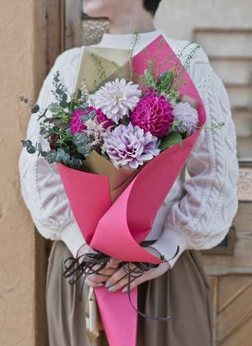 ダリア 花束 ピンク M ナチュラルブーケ