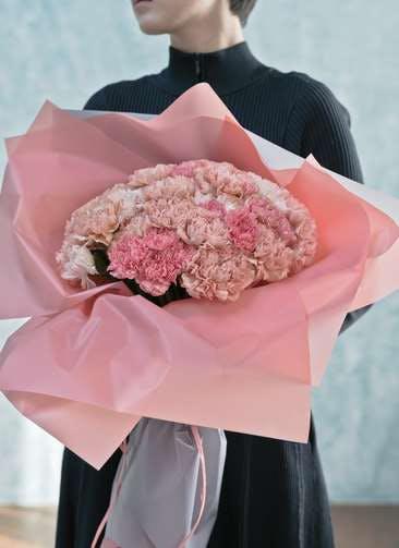 カーネーション 花束 ピンク L ラウンドブーケ