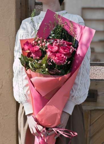 バラ 花束 ダークピンク M スタンダード