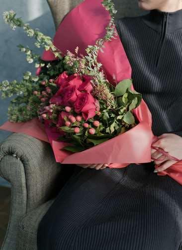 バラ 花束 ダークピンク L スタンダード