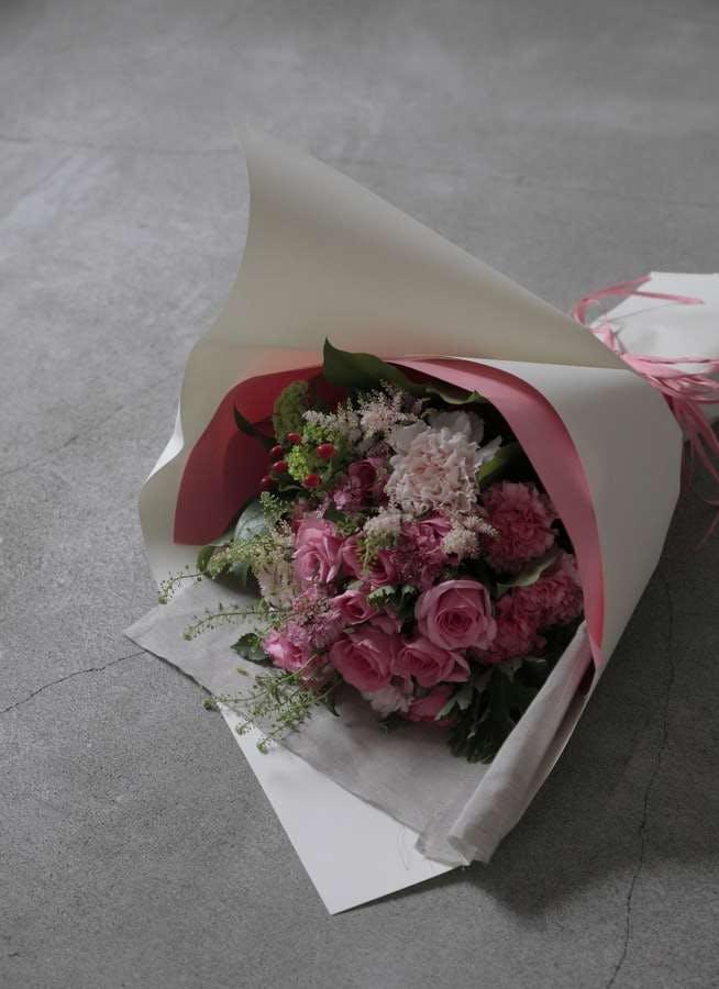 バラ 花束 ピンク L ナチュラルブーケ