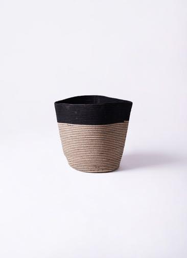 鉢カバー Rib Basket (リブバスケット) 4号鉢用 Natural and Black #stem B5232