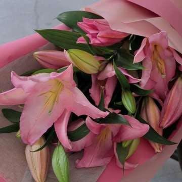 ユリ 花束 ピンク
