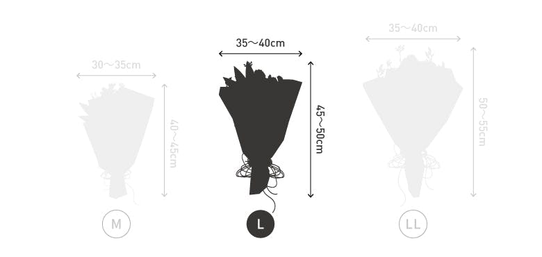 サイズ目安 高さ40〜45cm 幅30〜40cm 50本